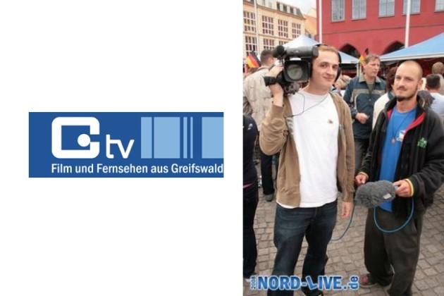 Greifswald TV Mitarbeiter Felix Müller und Christoph Eder in der Hansestadt Greifswald