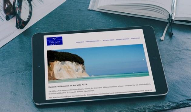Webseite der Villa Azur in der Stadt Sassnitz auf der Insel Rügen - Felix Müller Webdesign