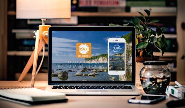 Webseite der Rügen-App von ap Marketing in Bergen auf der Insel Rügen - Webdesign und SEO von Felix Müller